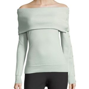 Theory Off Shoulder Button Sleeve Top Sweater